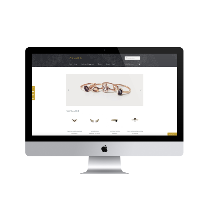 Arsaeus Designs jewellery home page