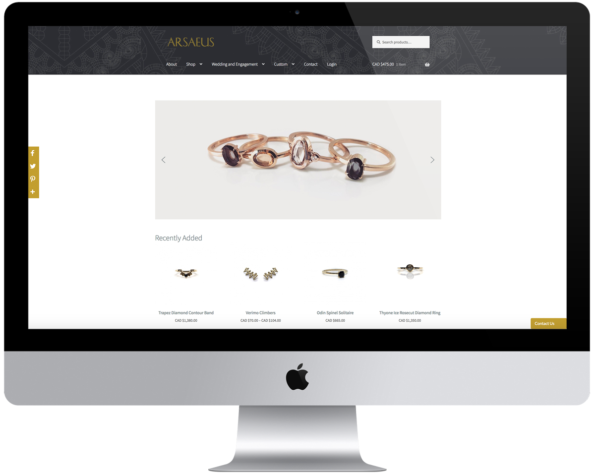 Arsaeus Designs Online Shop home page