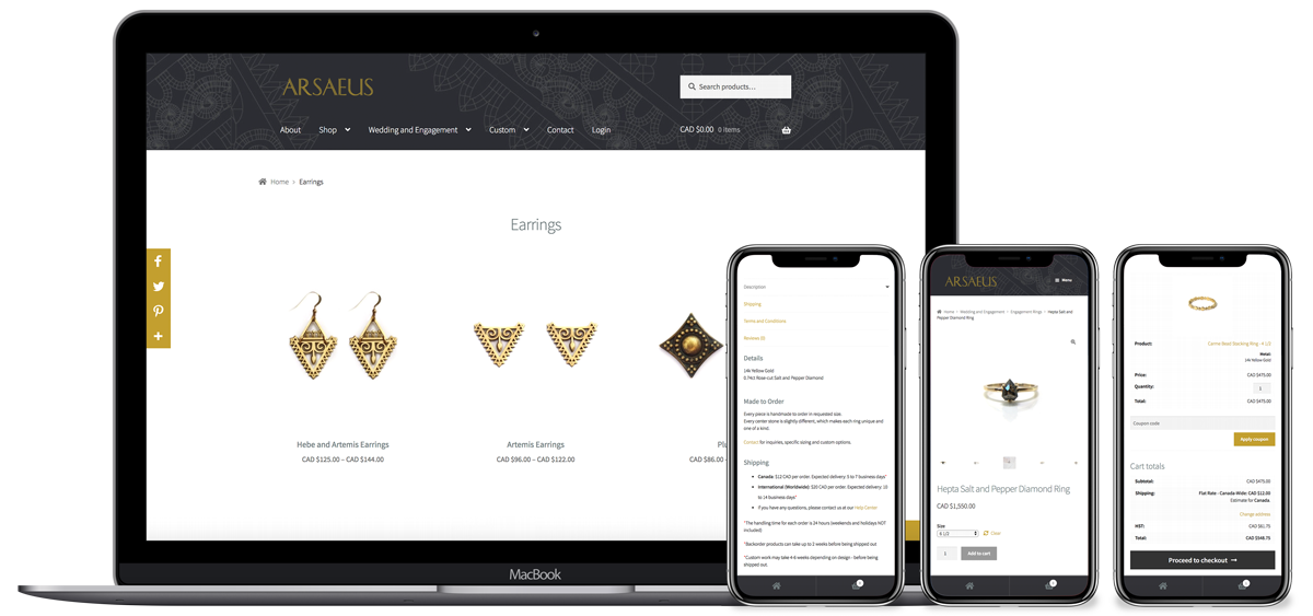 Arsaeus Designs earrings and checkout screens