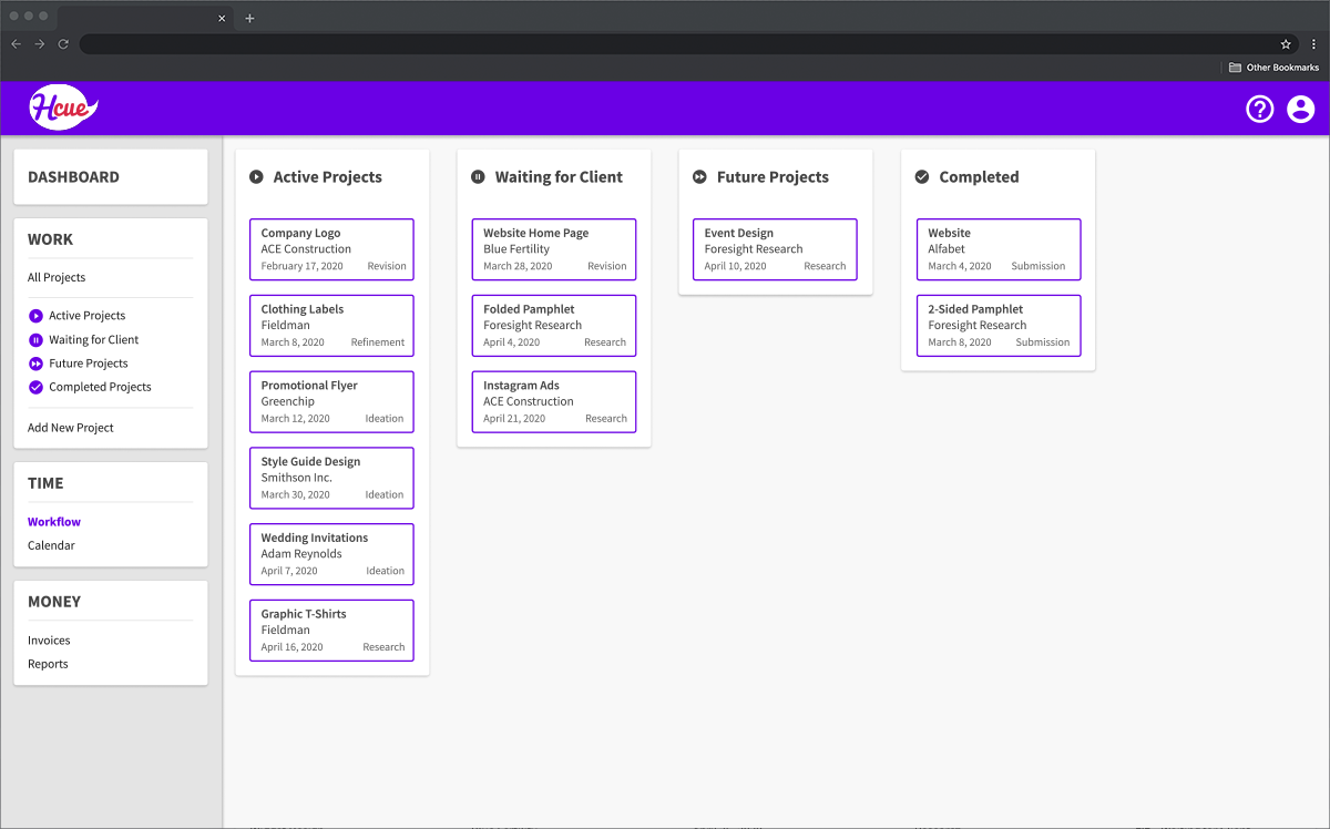H cue Workflow Page in Kanban style